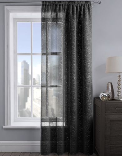 SHIMMER GLITTER SLOT TOP READY MADE STYLISH LIGHT NET VOILE CURTAIN BLACK COLOUR